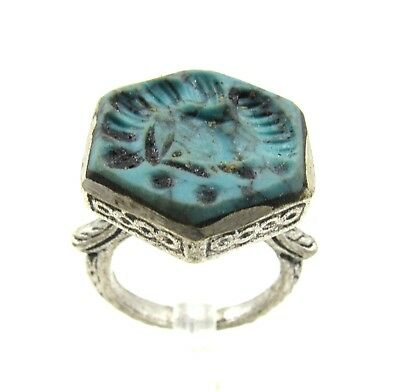 Authentic Post Medieval Silver Ring W/ Carved Intaglio Bust - Wearable - G83
