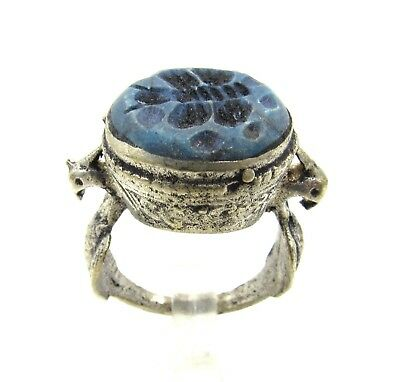 Authentic Post Medieval Silver Ring W/ Carved Intaglio Lapis Butterfly - G84