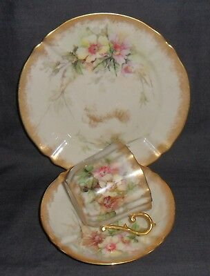 Lovely Antique Nautilus Porcelain Trio Blush Ivory, Floral And Gilded.
