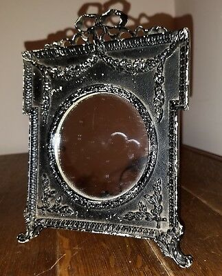 Antique Victorian Square Cast Iron Mirror Picture Frame w/Wire Ease, Round Open
