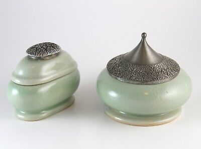 Pair of Thai Celadon Green Containers w/ Ornate Metal Lids Marked Asian Ceramics