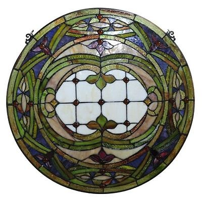 """PAIR Hand-crafted Stained Glass 24"""" Round Window Panels 268 Pieces Cut Glass"""
