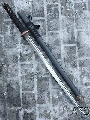Hand Forged Black Japanese Ninja Sword Iaido Ninjato Straight Blade