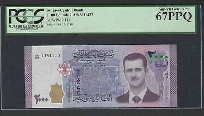 Syria Syrie 2000 Pounds 2015/AH1437 P117 Uncirculated Grade 67