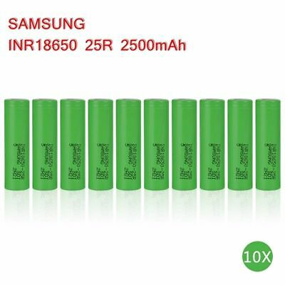 10 Pack Samsung 18650 Lithium 25R 2500mAh 25A Li-ion Battery Vape Batteries