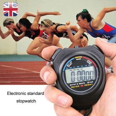 Digital Handheld Sports Stopwatch Time Alarm Counter Stop Watch For Sporting UK