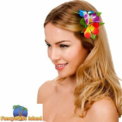 Hawaii Flower Hair Clip Hawaiian Luau Beach Summer Womens Fancy Dress Accessory