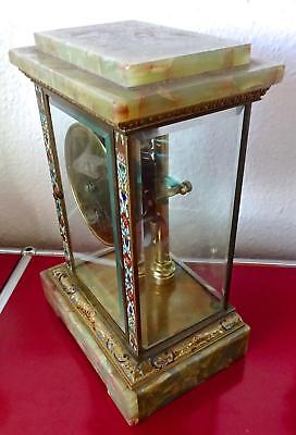 Bulle Mantle Clock: Brass, Bevelled Glass, Onyx & Enamel