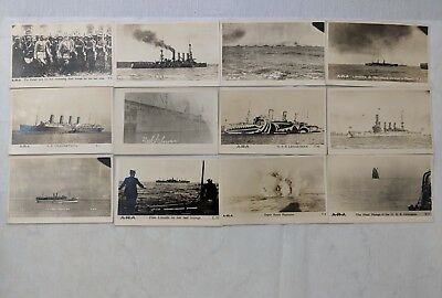 12 RARE Vintage World War I WWI Postcards Photos Naval Navy Ships Kaiser