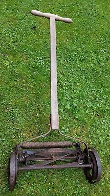 "Vintage Manual Push Iron Lawn Mower - Wallace Favorite (?) - 16"" Rotary Blade"