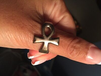 Silver Ring Ancient Egyptian Cross Ankh Bow of Life Heavy Mexico *Free Shipping*