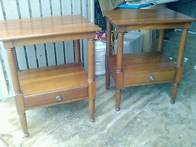 Pair of Century Solid cherry one drawer night stands tables