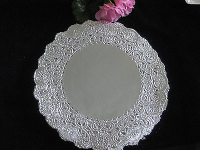 """5 pcs 6"""" INCH LACE ROUND SILVER SCROLL LACE FLORAL CARDS CRAFTS"""