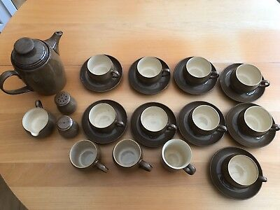 denby pampas 9 cups & saucers, 3 coffee mugs, coffee pot, milk jug, cruet set