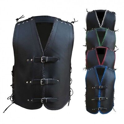 Australian Bikers Gear 3-4 MM THICK COWHIDE LEATHER CLUB BUCKLE VEST WITH BRAID
