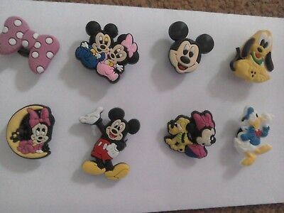 8 Disney Mickey & Minnie Mouse Mix Shoe Charms Crocs Jibbitz Crafts Cake Toppers