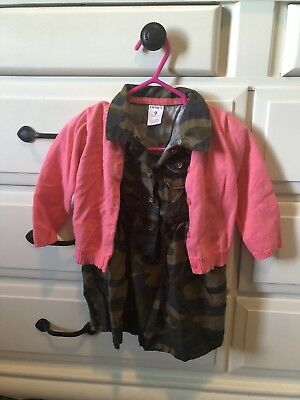 Carters Baby Girls Camo Dress & Cardigan Outfit Size 9 Months