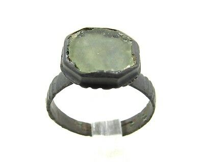 Authentic Late Medieval Tudor Bronze Ring W/ Glass - Wearable - G119