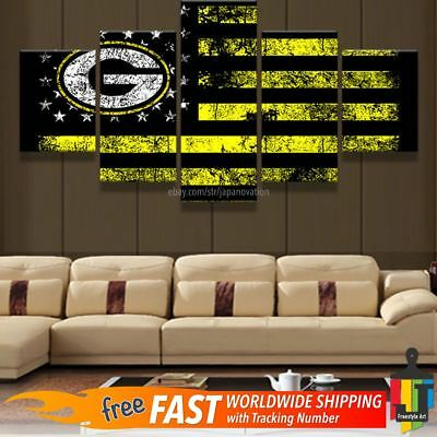Green Bay Packers American Flag 5pcs Painting Canvas Wall Art Poster Home Decor