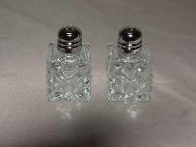 Clear Glass 7vtg Minature Individual Salt and Pepper Shakers - 6 sets