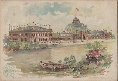 Victorian Trade Card-Clark's Spool Cotton-1893 Columbian Expo-Horticultural Hall