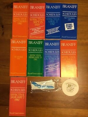 Braniff Airlines Timetable Lot 1970's And 1980's
