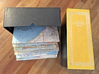 Box of Old National Geographic Vintage Maps  1935 & up  (42 total maps)