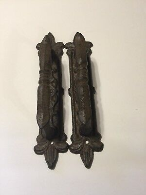 2 Large Cast Iron Antique Style FANCY Barn Handle, Gate Pull, Shed Door Handles