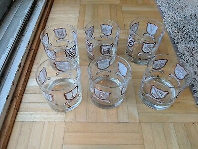 Set Of 6 Old Stone Bank Rhode Island Cities And Towns Drink Glasses-Great Cond.