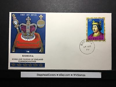 Barbuda FDC 16 Mar 1976 Kings and Queens of England Commemorative Henry I Stamp