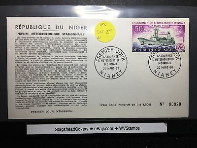 Niger FDC 23 Mar 1966 UN Worked Space Weather 6th Journey Meteorological World