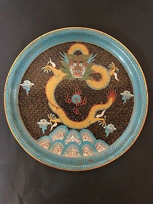 ANTIQUE 19c CHINESE   Cloisonne Dragon plate