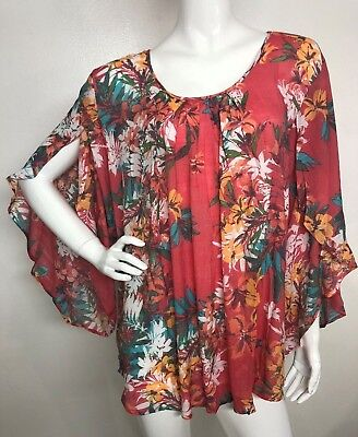 b05665baad26f NEW SPENSE Women s Plus 2X Coral Agua Floral Peasant 3 4 Sleeve Top Blouse  Tunic