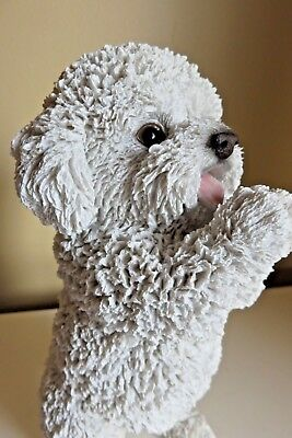 "Maltese Standing Dog Figurine White Dogs Statue Resin Pet Canine New 8.6 "" H"