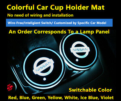 1pcs Colorful LED Coaster Atmosphere Car Part Light Bulbs For Nissan Neon Lights