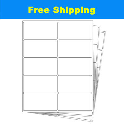 """Premium 500-4000 Sheets 10 UP 2"""" x 4"""" Shipping Mailing Address Labels Adhesive"""