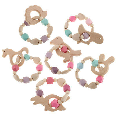 Wooden Silicone Beads Teether Ring Cute Animal Infant Baby Teething Bracelet Toy