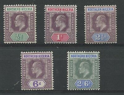 """NORTHERN NIGERIA - 1905/1907 """"5 values of Ed. VII Definitives on """"ORDINARY PAPER"""