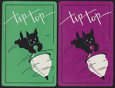 2 Single VINTAGE Swap/Playing Cards DOG BLACK TERRIER ID 'TIP TOP DA-6-22'
