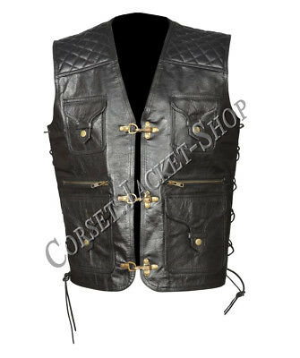 Black Genuine Leather Motorcycle Style Antique Brass Claps in Front Vest LV1