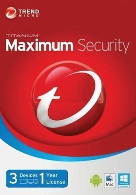 Trend Micro Maximum Security 15 ( 2019 ) 1 Year 3 Device - KEY only