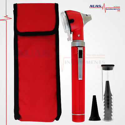 OTOSCOPE RED MINI FIBER OPTIC POCKET,MEDICAL,DIAGNOSTIC,OTOLOGIST, ENT, New