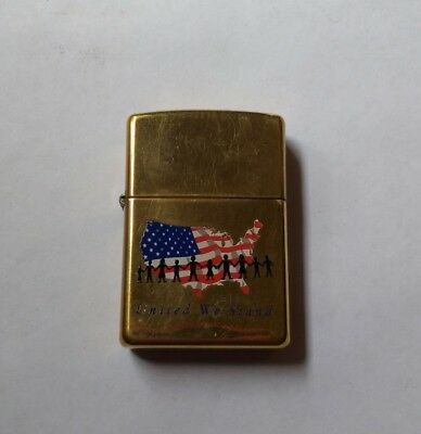 Zippo Lighter United We Stand American Flag Brass USED