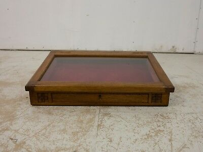 Early 20th Century Art Nouveau Oak Jewellery Display Case with Red Velvet Lining