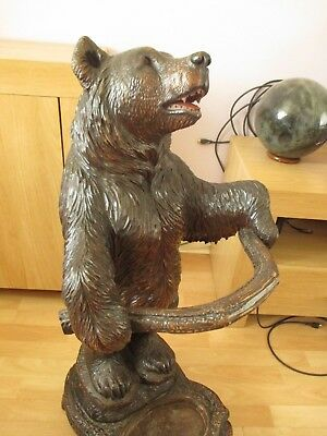 "Antique Large 35"" Standing Black Forest Bear Stick Stand Swiss Wood Carving"
