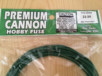 PREMIUM CANNON 3mm hobby safety fuse cannon fuse 23-24 sec/ft package label