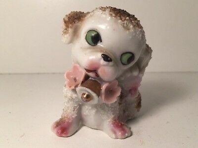 VTG PORCELAIN SPAGHETTI TYPE PUPPY DOG WITH PINK FLOWERS and GOLD BELL /JAPAN