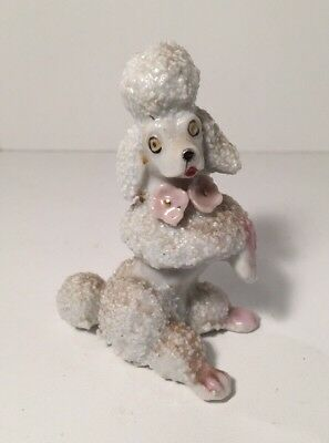 "Vintage White Spaghetti Poodle Porcelain/ceramic Dog Figurine 3"" H Collectible"