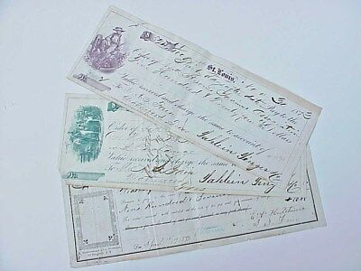 ORIGINAL 1872 1873 1874 Check Lot of 3 Weatherford Texas BEAUTIFUL Vignettes
