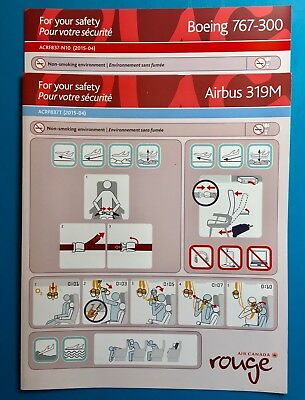 2 Air Canada Rouge Safety Cards -319,767